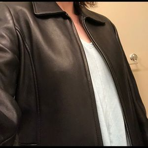 Real leather zip-up jacket.